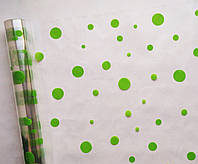 Пленка прозрачная Зеленые круги 60 см 400 гр