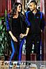 Спортивный костюм мужской и женский Адидас черный лампас индиго