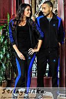 Спортивный костюм мужской и женский Адидас черный лампас индиго, фото 1