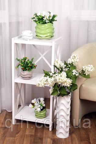 Белый цветочный керамический горшок, фото 2