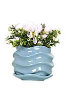 Голубой цветочный керамический горшок