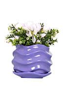 Фоилетовый цветочный керамический горшок