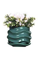 Бирюзовый цветочный керамический горшок