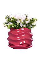 Розовый цветочный керамический горшок