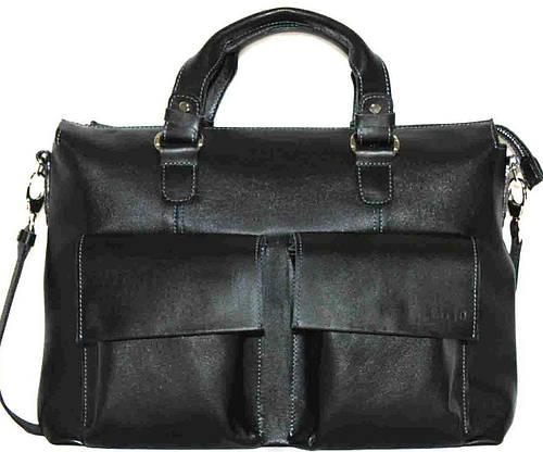 Гладкая черная мужская сумка из высококачественной натуральной кожи VATTO MK25Kaz1