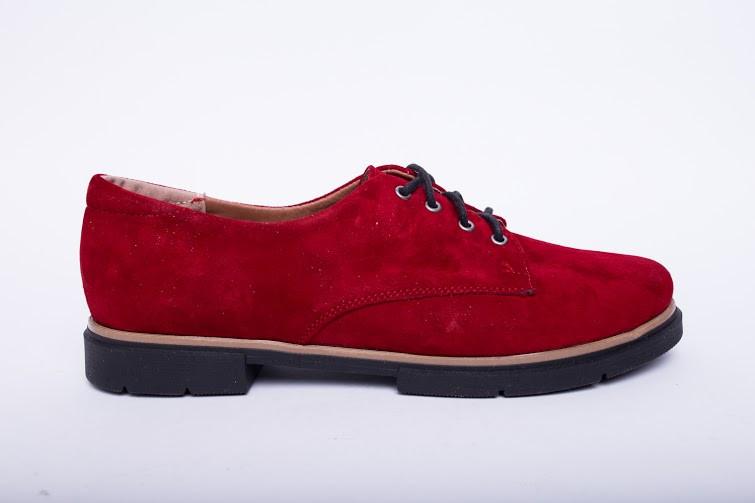 Туфли из натуральной красной замши №303-3