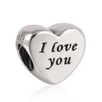 """Шарм бусина Pandora (Пандора) """"Сердце I love you"""""""