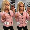 Куртка женская короткая на пуговицах с карманами P1063
