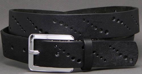Удобный женский ремень из натуральной кожи Узор 3,5 см Svetlana Zubko F35123 черный