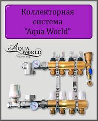 Колектор в зборі на 10 виходів Aqua World для теплої підлоги