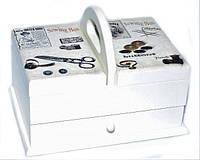 Стильная шкатулка большая для Рукоделия 2- ярусная в стиле Прованс, фото 1