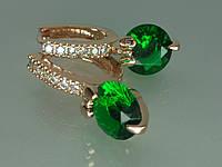 """Серьги """"Аринда"""" наилучшего качества, с устойчивым  покрытием золота и цирконием (зелёный)."""