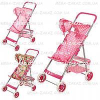 """Детская коляска для куклы с металлическим каркасом """"Прогулочная"""": 3 цвета, корзина для игрушек"""