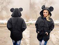 Куртка женская из плащевки с ушками на капюшоне P1106, фото 1