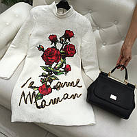 Платье Dolce&Gabbana 2016 белое с розами