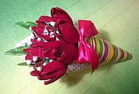 """Букет из конфет """"Весенний"""" бордовый"""