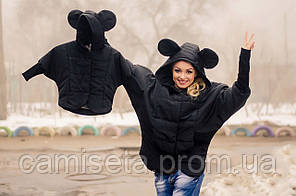 Куртка детская из плащевки с ушками на капюшоне P1101