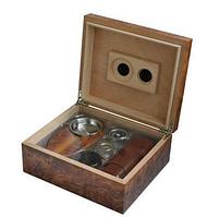 Хьюмидор 92059 (82059) для 25 сигар, коричневый +набор, им.дерева, 26х22х11см