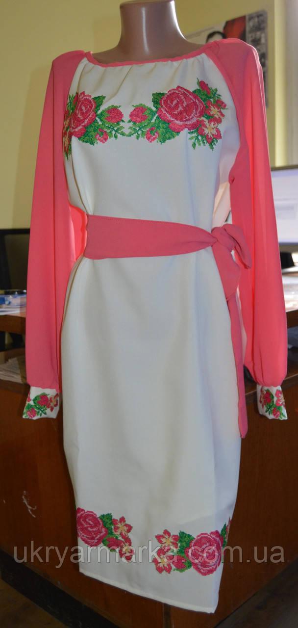 """Вишита жіноча сукня """"Казкова """" рожева"""