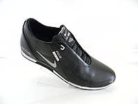Кожаные мужские кроссовки Nike model ( N-1) черные