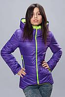 Женская демисезонная куртка. Код модели К-67-12-16. Цвет фиолетовый с лимонным.