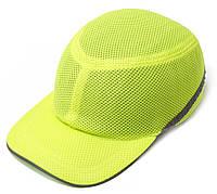 Каска-бейсболка ударопрочная со светоотражающей лентой (цвет ультра салатовый)