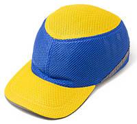 Каска-бейсболка ударостійка зі светоотражающей стрічкою (колір жовто-синя)