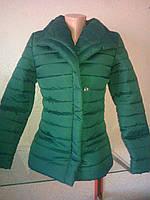 Демисезонная женская короткая зеленая   куртка K&ML