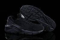 Кроссовки женские Nike Huarache (найк хуараче, оригинал) замшевые черные