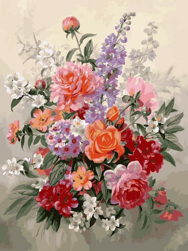 Картины по номерам 30×40 см. Букет в пастельных тонах Художник Альберт Вильямс