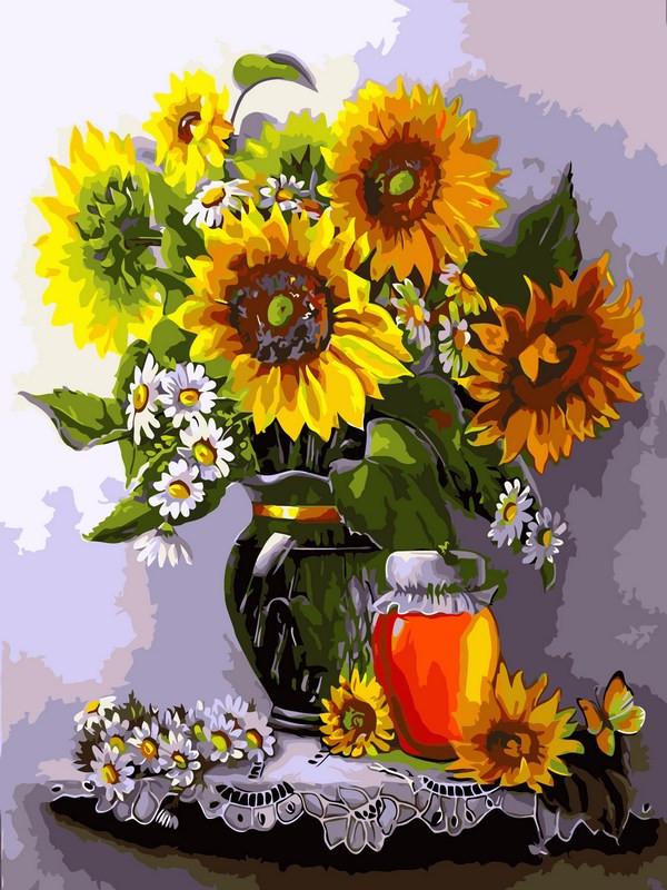 Картина по номерам 30×40 см. Мед и подсолнухи