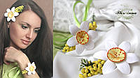 """""""Нарциссы с мимозой"""" (заколка+браслет) авторский комплект украшений ручной работы. Подарок на 8 марта"""