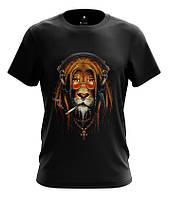 """Футболка мужская  с цветным рисунком """"LION HIPPIE"""""""
