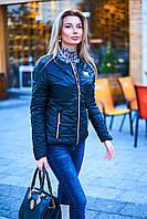 Куртка женская демисезонная чёрная с длинным рукавом и двумя карманами