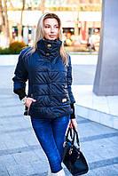 Весенняя чёрная куртка женская с рукавом три четверти