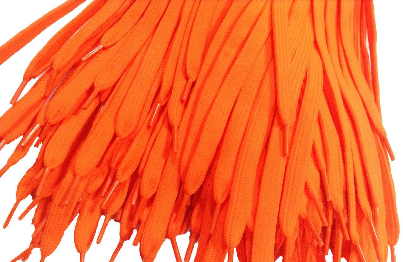 Шнурки для обуви (100см) плоские, ярко-оранжевые