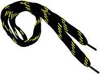 Шнурки широкие 20мм/120см, Черные в желтую полоску