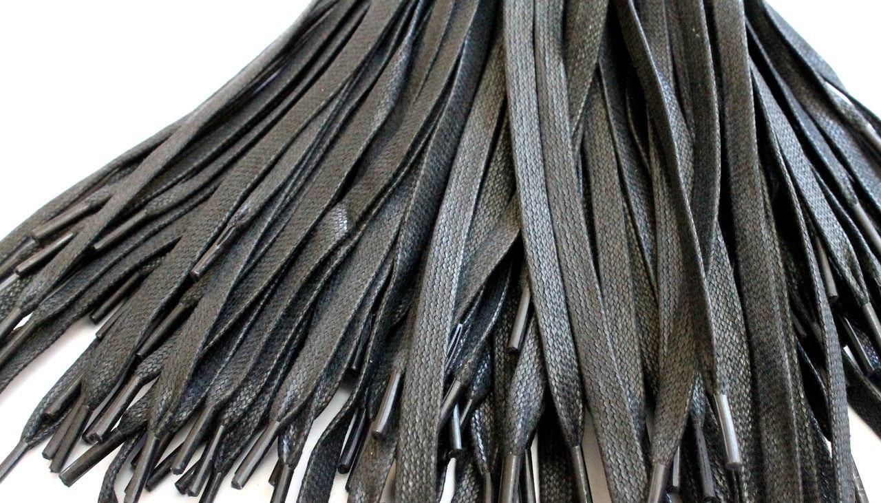 Шнурки для обуви с пропиткой (100см) плоские, черные