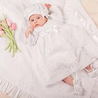 Детское платье  с панталончиками Варечка от Miminobaby белое от 0 до 3 месяцев