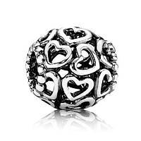 Шарм Pandora Ажурное сердце, Пандора серебро