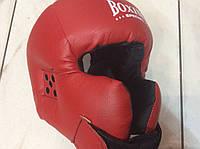 Боксерский шлем-маска  с закрытой теменной частью и усиленной защитой щек и подбородка (красный)