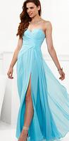 Длинное шифоновое платье с разрезом