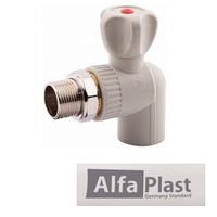 Кран PPR 20*1/2 радиаторный шаровый угловой Alfa Plast