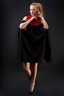 Двойное платье  французский трикотаж (нижнее платье)+ креп (верхняя часть)