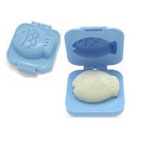 Фигурная формочка для вареных яиц и бенто Пластик, Рыбка голубая, Китай, Формочка для варки яиц