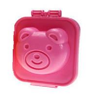Фигурная формочка для вареных яиц и бенто Пластик, Мишка розовый, Китай, Формочка для варки яиц