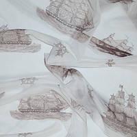 Тюль вуаль (шифон) кораблик коричневый, фон белый