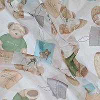 Тюль вуаль (шифон) мишки Тедди, фон белый