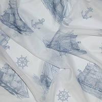 Тюль вуаль (шифон) кораблик синий, фон белый