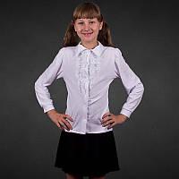Школьная белая блузка для девочки с кружевным жабо р.38
